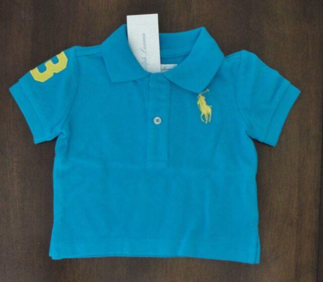 d8296791 Ralph Lauren Big Pony Cotton Mesh Hawaiian Ocean Blue Polo Shirt - Baby Boy  6 Months