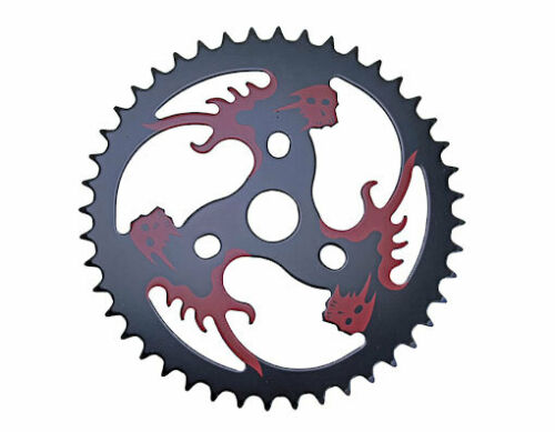 STEEL CHAINRING RED//SKULL 1//2 X 1//8 44T BLACK CUSTOM CHOPPER BMX CRUISER 137814