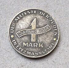 1943 JUDE JEWISH GETTO COIN 1 MARK QUITTUNG UBER LITZMANNSTADT