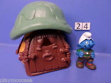 (24) Schtroumpf maison orange toit vert 78+ personnage 99 peyo schleich germany