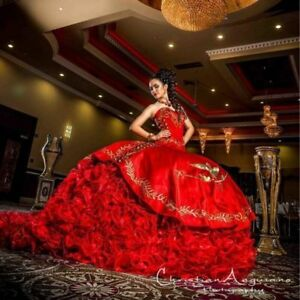 36a01cfe518 Image is loading Luxurious-Red-Ball-Gown-Quinceanera-Dresses-Gold -Embroidery-