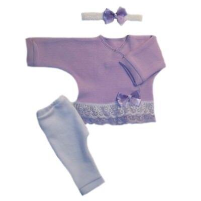4 Preemie and Newborn Sizes Baby Girl Sweet Lavender Pants Shirt Headband Set