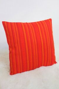 Original-Retro-Fabric-Cushion-Cover-60s-70s-16x16-034-Geometric-Red-Orange