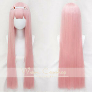 DARLING-in-the-FRANXX-02-ZERO-TWO-100cm-Long-Straight-Bangs-Pink-Cosplay-Wig