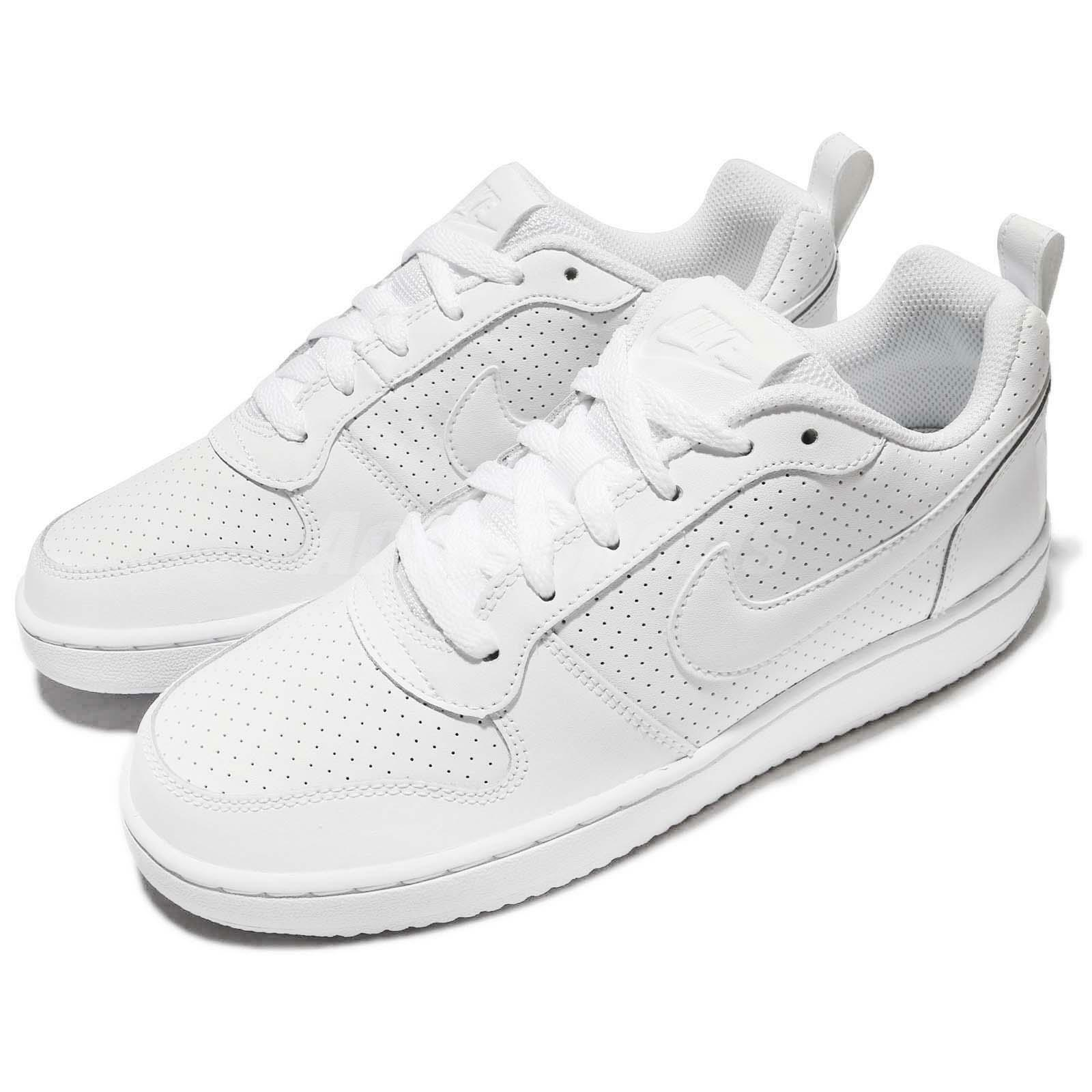 NIKE COURT BOROUGH LOW SNEAKERS WOMEN SHOES TRIPLE WHITE 844905-110 SIZE 11 NEW
