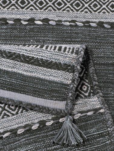 Teppich Baumwolle Grau Weiß Schwarz Schiefer Streifen Muster robust strapazierfä