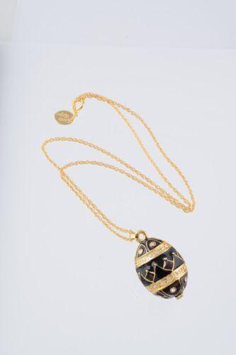 Faberge Easter Egg Necklace by Keren Kopal gold plated trinket box