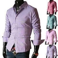2016 Luxury Shirt Mens Casual Designer Formal Slim Fit Check Shirts Top S M L XL