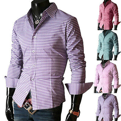 STYLISH DESIGNER Mens T-Shirt Slim Fit Casual Formal Business Dress Shirts Tops