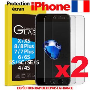 LOT-VITRE-PROTECTION-VERRE-TREMPE-FILM-ECRAN-IPHONE-6-7-8-5S-SE-PLUS-X-XS-MAX