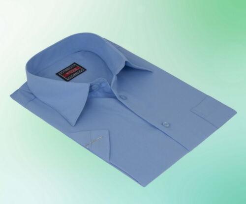 Herren Hemd Klassisch Kurzarm Blau Business 38 39 40 41 42 43 44 45
