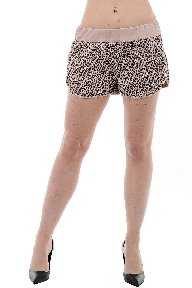 DROME New Woman Pink Leopard Print Leather Hot Pants Mini Shorts Trousers Size S