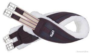 English-Saddle-Girth-Shaped-Fleece-Elastic-End-Brown-Size-54-Inch