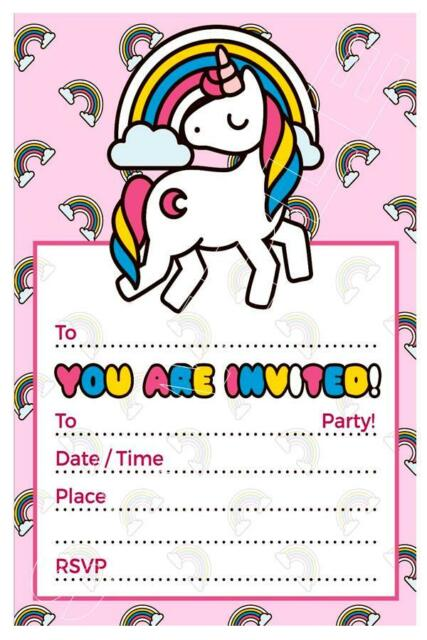 1 X UNICORN GIRLS CHILDRENS BLANK DIY BIRTHDAY PARTY INVITATIONS FREE MAGNETS