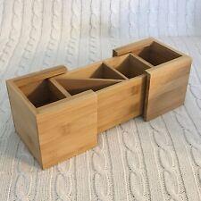 Bamboo Wood Expandable Desk Organizer Pencils Scissors Paper Clip Office Supply