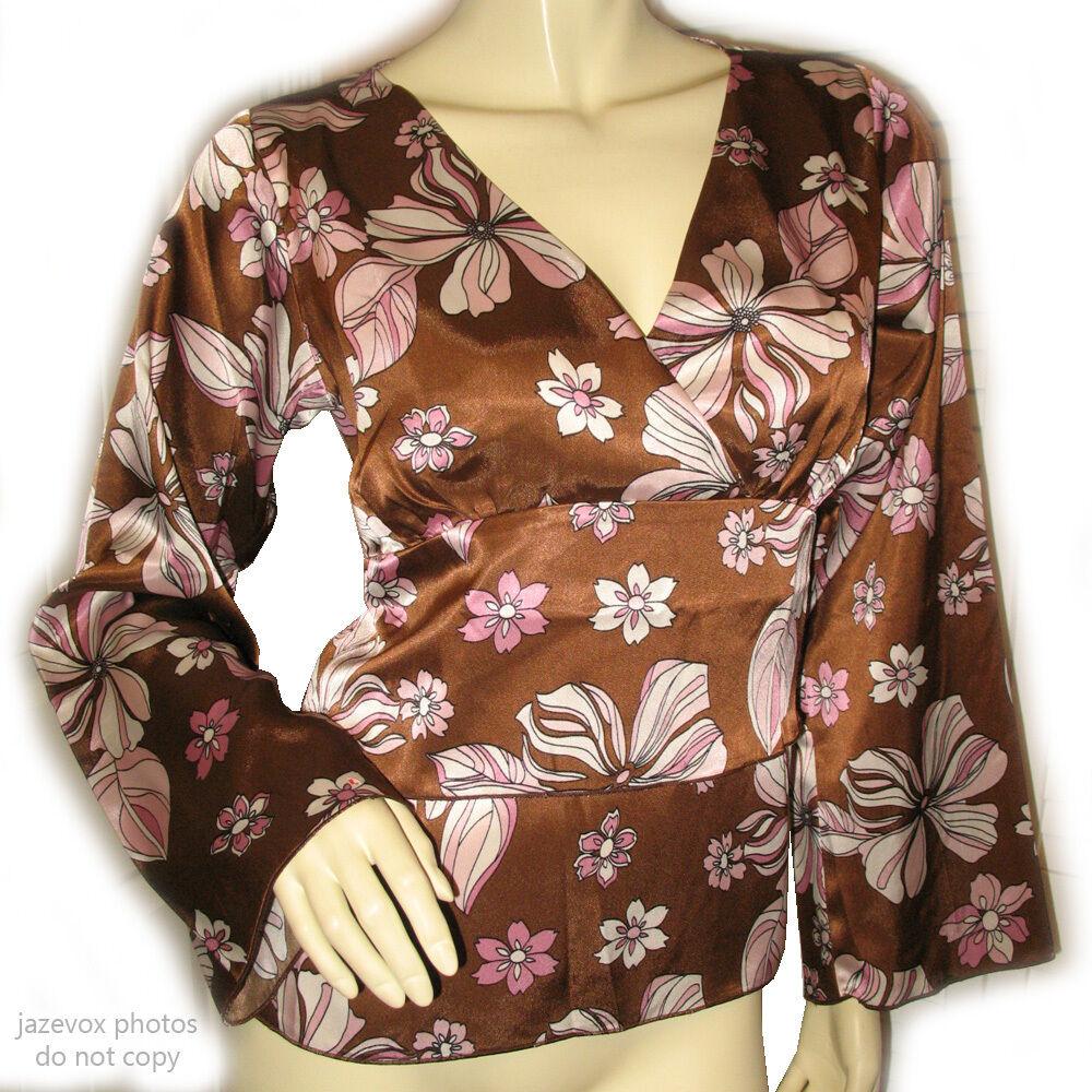 J MARCO New damen V-Neck Asian Kimono Top 8 Floral Print Bell Long Sleeve braun