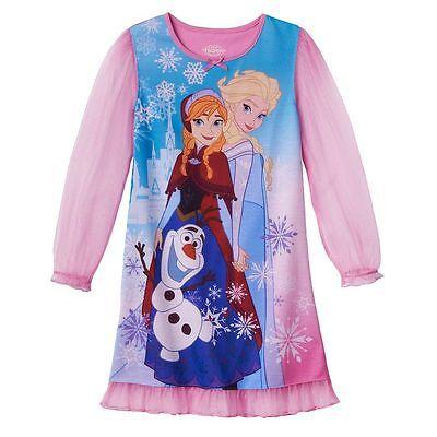 Disney Frozen Anna, Elsa & Olaf Nightgown Pajamas Size 4/5, 6/6X, 7/8 New $38 RV