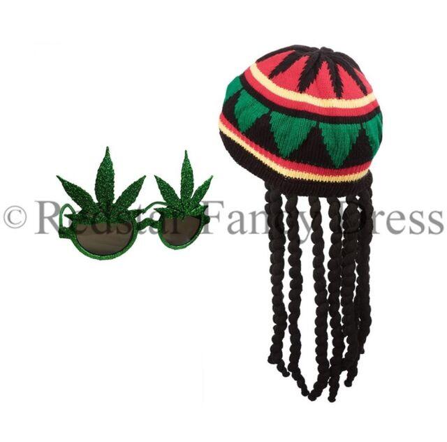 Dreadlocks Rasta Hippie Wig Cosplay Adult Fancy Dress Jamaican Bob Marley