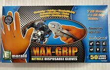 Max Grip 7 Mil 4 Mil Textured Orange Nitrile Gloves Heavy Duty