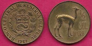 1967-75  Peru Coin 1//2 Sol  Vicuna llama   nice animal coin  world coins