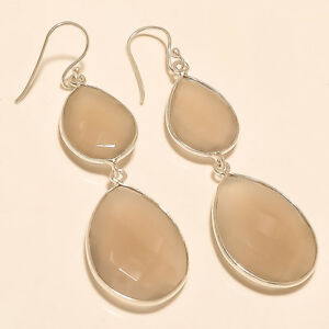 Natural-African-Off-White-Agate-Earrings-925-Sterling-Silver-Handmade-Jewelry-AA