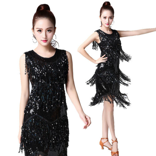 20s 1920s Flapper Dress Great Gatsby Charleston Party Sequin Fringe Performance