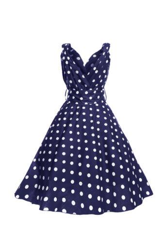 Grande taille femme rétro mi-CRAVATE Marilyn Navy Polka Dot années 1950 Parti robe d/'été