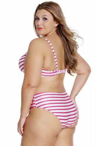 2pc Fuchsia//White Padded Bra Top Wide Strap Swimsuit Bikini Swimwear XL-3XL Set