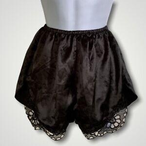 VINTAGE 80s Liquid Satin Lace Black Sleep Shorts Lingerie S/M