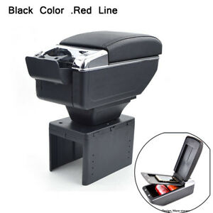PU-Leather-Car-Central-Armrest-Box-Handrails-Double-layer-Cup-Holder-Black-Red