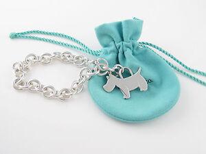 Tiffany Silver Scottie Terrier Dog Charm Bracelet Bangle