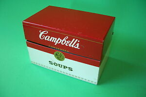 Old-Campbell-039-s-Soups-Heavy-Tin-Recipe-Box-Complete-With-Recipe-039-s-Dividers