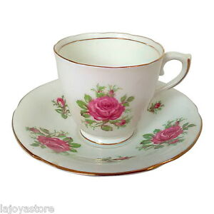 Vanderwood Genuine Bone China England Cup & Saucer Set White Pink Rose Gold Trim