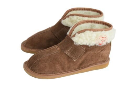 Kids Children Unisex Natural Suede Leather Slippers Boots Size UK 5-2 EU 25-34