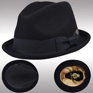 073f5cebf03 Men s Classic Fedora Hat Felt Wool Porkpie Derby Hat Upturn Brim ...