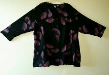 Nice MiB Collection MAKING iT BIG Sz D (1X) Button Front Tunic Top Black Purple