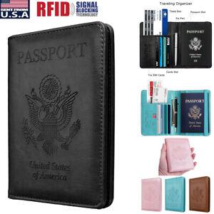 Slim-Leather-Travel-Passport-Wallet-Holder-RFID-Blocking-ID-Card-Case-Cover-US