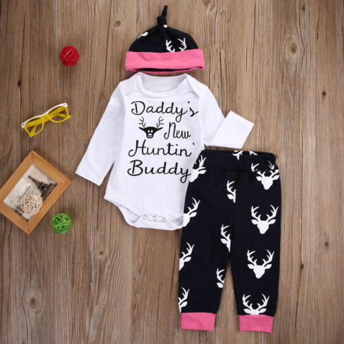 3PC Newborn Kids Baby Girls Boys Xmas Elk Romper Jumpsuit+Pants Hat Outfits Set