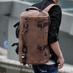 Men-039-s-Large-Canvas-Backpack-Shoulder-Bag-Sports-Travel-Duffle-Bag-Hand-Luggage