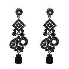 "Zara elegante 3"" Piedras Negras Gota De Aspecto Vintage colgantes pendientes – Nuevo"