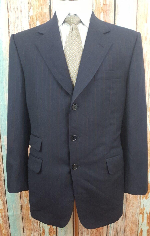 ERMENEGILDO ZEGNA 38R  Dark Blau With Braun Pinstripes  Pure Wool  Herren Suit