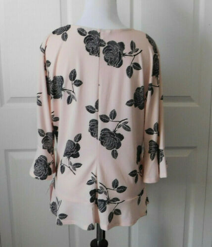 CANDIE/'S Women/'s Pink Black Rose Crepe Ruched Front Peplum Bell Top Size XL
