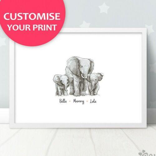 Elephant Family 3 Name PrintNew Baby Shower Mom Dad GiftUnframed 1A-2B