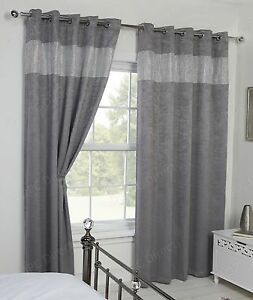 Image Is Loading Diamante Sparkle Glitter Diamond Thermal Blackout Eyelet Curtains