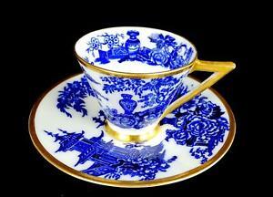 ADAMS-PORCELAIN-4639-JEDDO-PATTERN-BLUE-URN-2-1-4-034-DEMITASSE-CUP-amp-SAUCER-1879
