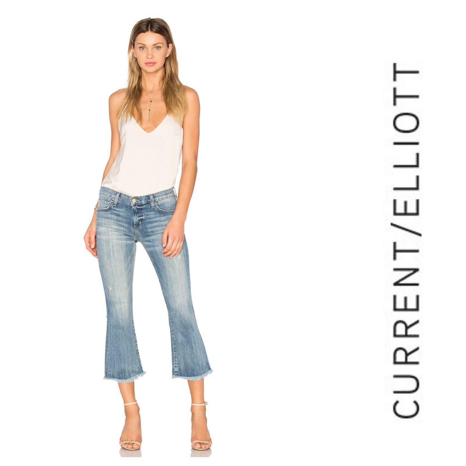 Current Elliott Women's Raw Hem Flip Flop Cropped Denim High Rise Jeans Size 26