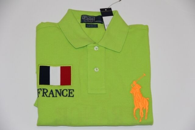 Polo Ralph Lauren Men Grün Neon Shirt Big Pony France Flag L Large CUSTOM FIT