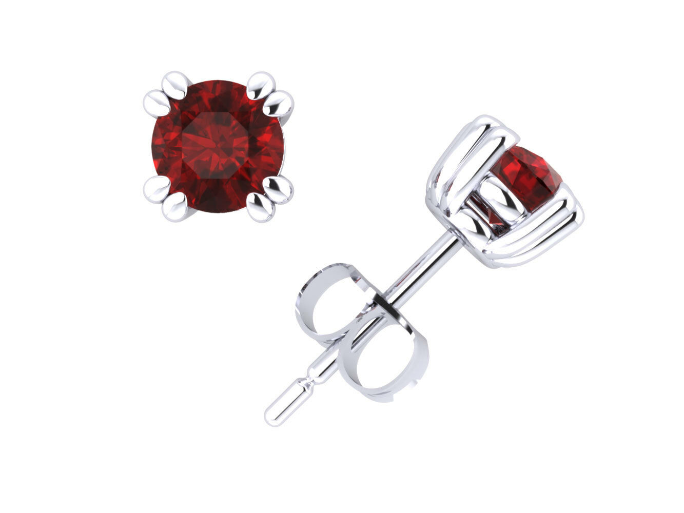 2 5Ct Round Ruby Basket Solitaire Stud Earrings 14Kt White gold Double Prong AA