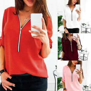Womens-V-Neck-Zipper-Pleated-Loose-Shirt-Casual-Ladies-Long-Sleeve-Tops-Blouse