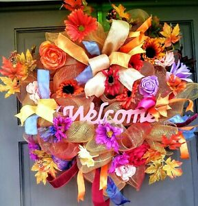 Fall-Autumn-Wreath-Colorful-Gold-Floral-Deco-Mesh-Door-Decor-with-Welcome-Sign